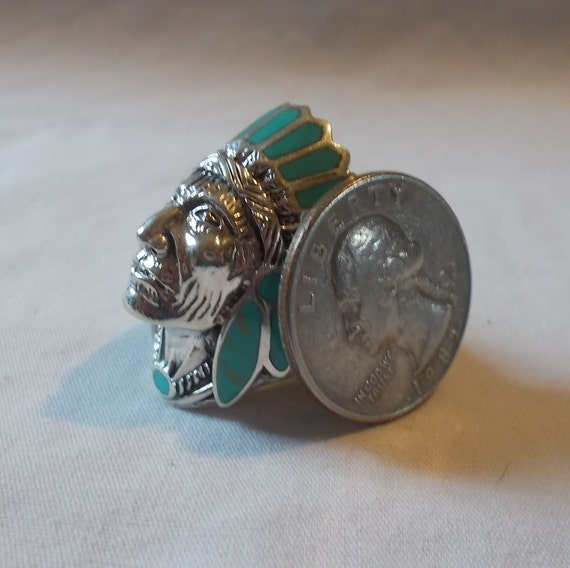BIG~Sterling Silver~Turquoise~Chief~Ring~Indian~C… - image 6