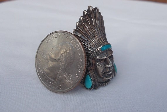 Vintage~Sterling Silver~Turquoise~Chief~Ring~Indi… - image 5