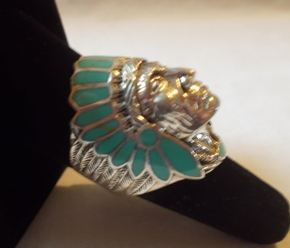 BIG~Sterling Silver~Turquoise~Chief~Ring~Indian~C… - image 4
