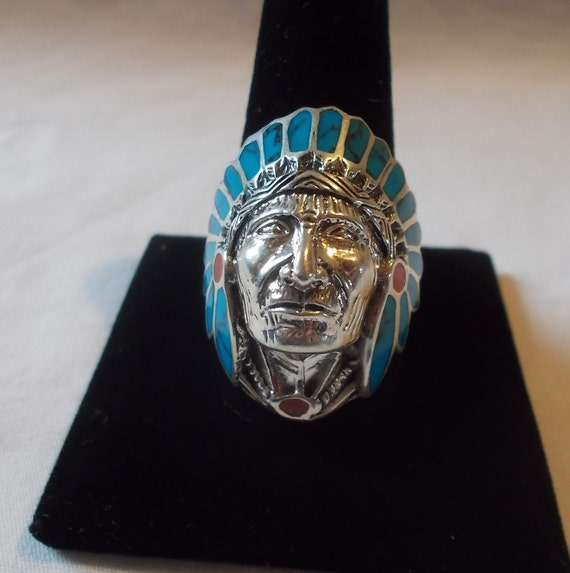 BIG~Sterling Silver~Turquoise~Coral~Chief~Ring~Ind