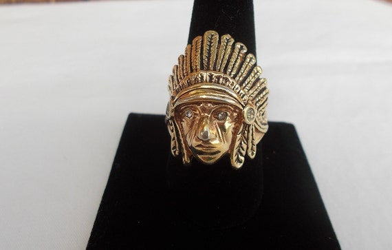 Vintage~18KG~Over~Sterling Silver~Chief~Ring~India