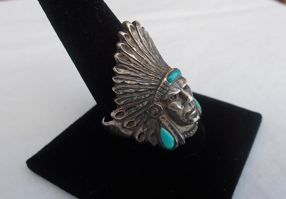 Vintage~Sterling Silver~Turquoise~Chief~Ring~Indi… - image 3