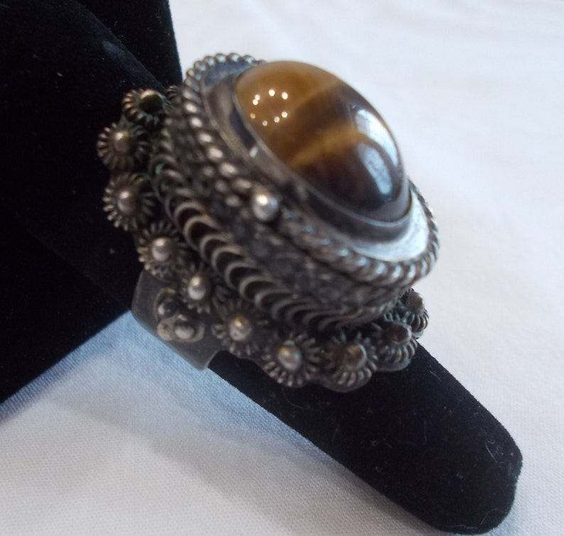 Big~Vintage~Sterling Silver~Poison Ring~Signed~925 Fine Jewelry~Tigers Eye Stone~Mexico~Size 9~Adj.~22+gm.~Snuff~Locket~Pill Box~Cats Eye