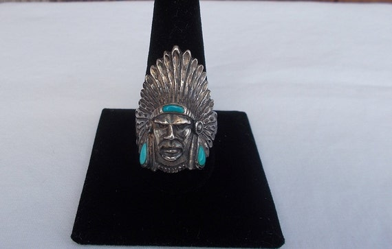Vintage~Sterling Silver~Turquoise~Chief~Ring~Indi… - image 4