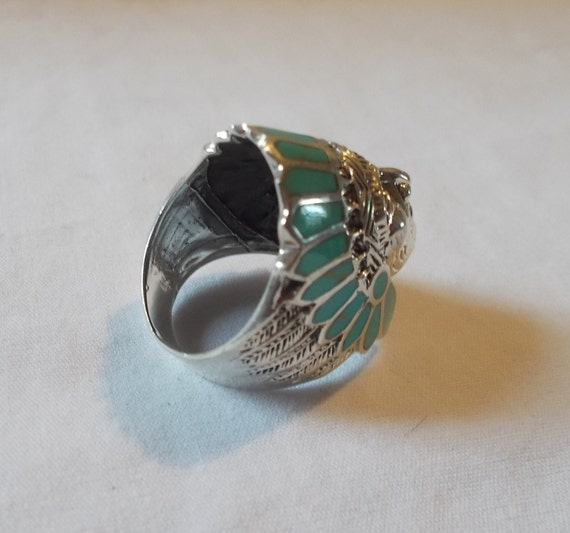 BIG~Sterling Silver~Turquoise~Chief~Ring~Indian~C… - image 5