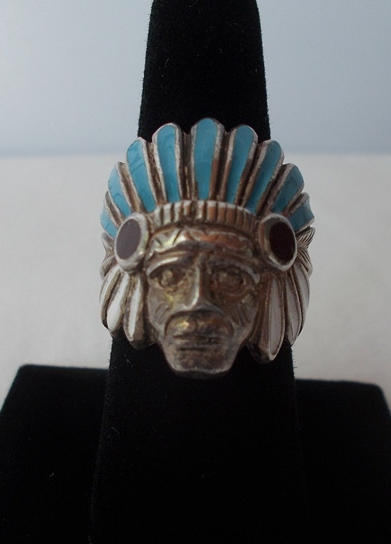 OLD~Sterling Silver~Turquoise~MOP~Chief~Ring~India