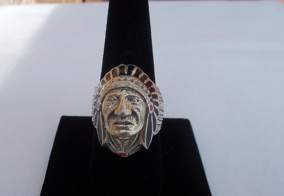 Vintage~Sterling Silver~Chief~Ring~Indian~Chief~He
