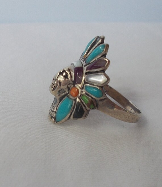 Sterling Silver~Turquoise~Multi~Gem~Stone~Chief~R… - image 2
