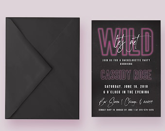 Let's Get Wild Bachelorette Party Invitation | Neon Bachelorette Party Invite | Custom Bachelorette Invitation | Printable Invite | HJC57DI