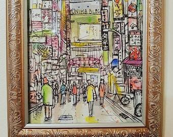 Original Artwork - 'Tokyo'. Illustration; pen and watercolour on paper