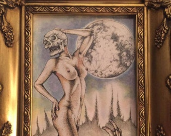 Original Artwork - 'Lust'. Dotwork; pen and watercolour on paper