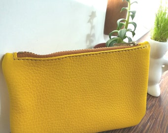"""Wallet / clutch yellow leather """"Chocolate"""""""