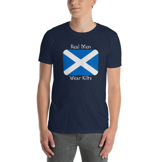 Scottish Flag Real Men Wear Kilts Back Print Long Sleeve Hoody for Men