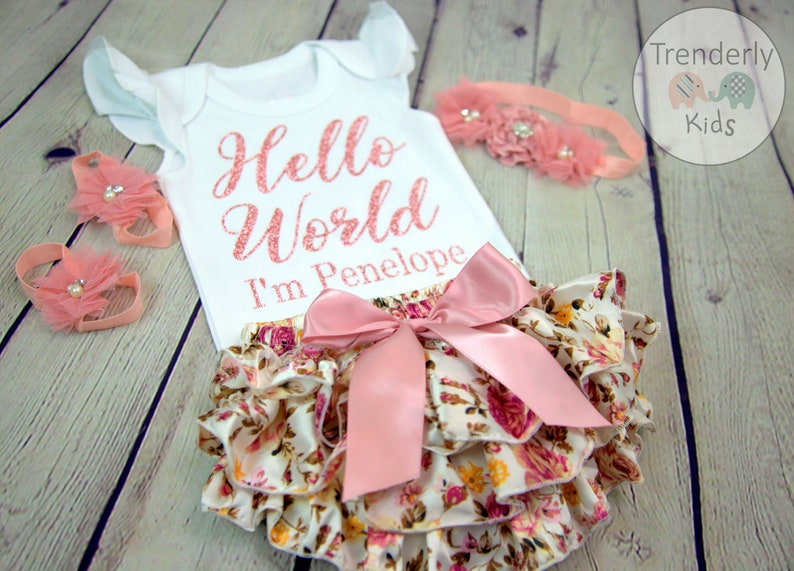 e0e03d8bb6534 Baby Girl Coming Home Outfit Newborn Baby, Floral Bloomer Baby Girl  Clothes, Glitter or Pink Hello World Baby Girl Baby Shower Gift Set,