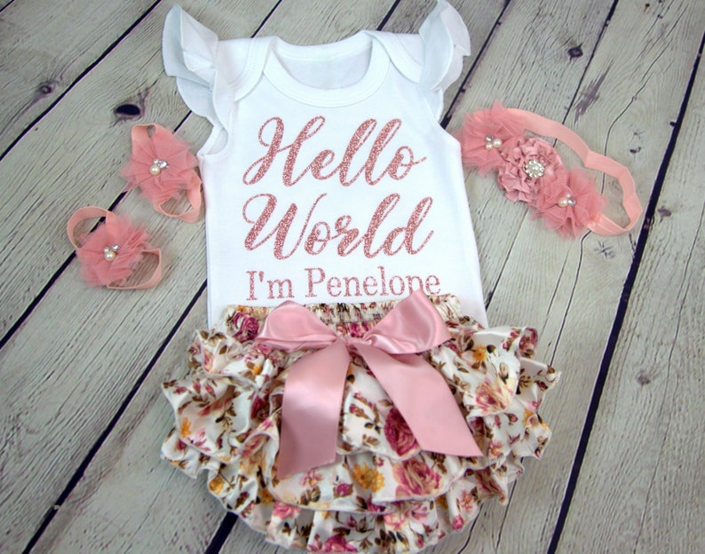 0e979af163a33 Baby Girl Coming Home Outfit, Baby Girl Take Home Outfit, Newborn Baby Girl  Clothes, Newborn Baby Girl Personalized Outfit
