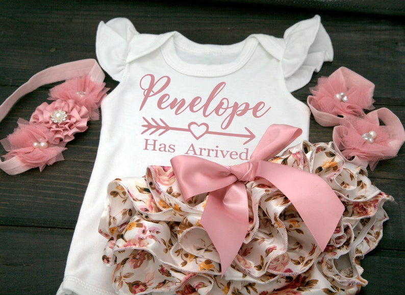 d8a945dfc9931 Floral Baby Girl Personalized Bloomer Outfit For Newborn Baby Girl, Newborn  Baby Girl Personalized Gift Set Outfit, Baby Girl Clothes