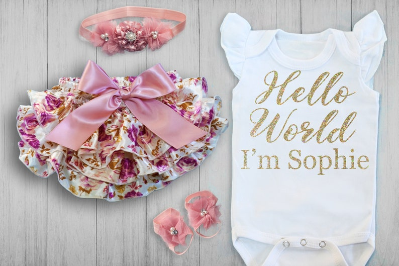 d6dc9348001c2 BABY GIRL Coming Home Outfit, Newborn, personalized, baby girl gift, baby  shower gift, baby girl outfit, new mom, baby girl, expecting mom