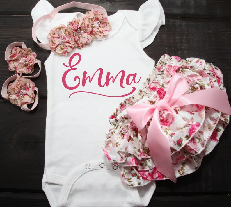 cf68e9b66c67d Baby GIrl Floral Bloomer Personalized Coming Home Outfit, Baby GIrl Floral  Bloomers with Chiffon Headband and Barefoot Sandals for Baby Girl