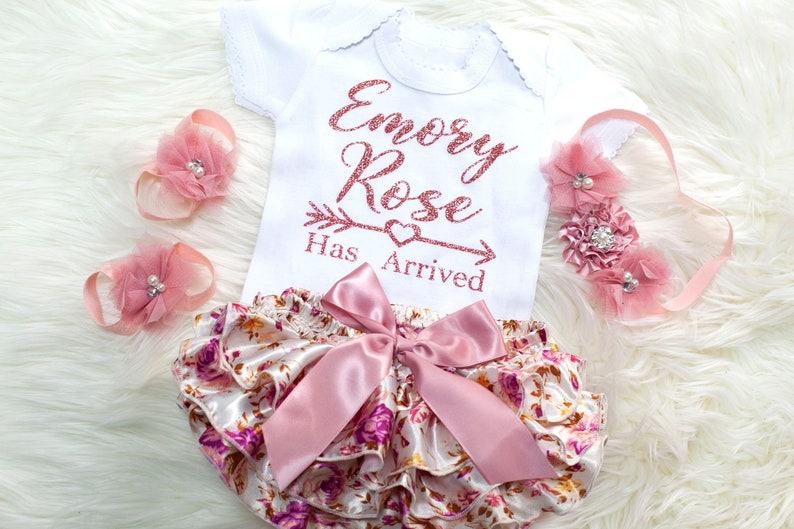 46fc4e1c7b676 Baby Girl Clothes, Baby Girl Coming Home Outfit, Newborn Girl Photo Outfit,  Personalized Baby Girl Bloomer Set