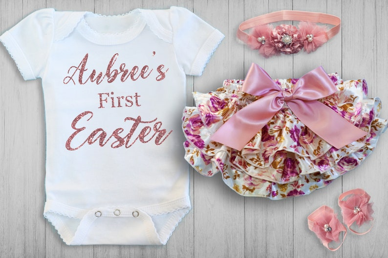 4c495b4bb0dd4 PERSONALIZED Baby Easter Outfit, Baby Girl First Easter, Easter Bloomer  Baby Girl, Baby Shower Gift, Personalized Easter 0-3, 3-6, Newborn