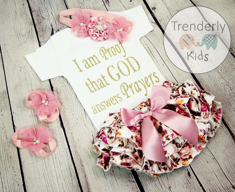 d0a2543130b19 Baby Girl Coming Home Outfit, Newborn Baby Girl Take Home Outfit,  Personalized Baby Girl Gift, I Am Proof That God Answers Prayers.