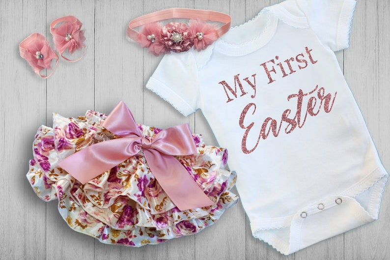 2b75328c4cafa BABY GIRL My First Easter, Newborn Easter Coming Home Outfit, Personalized  Newborn Baby Clothes, Easter Baby Shower Gift, Baby Girl Easter