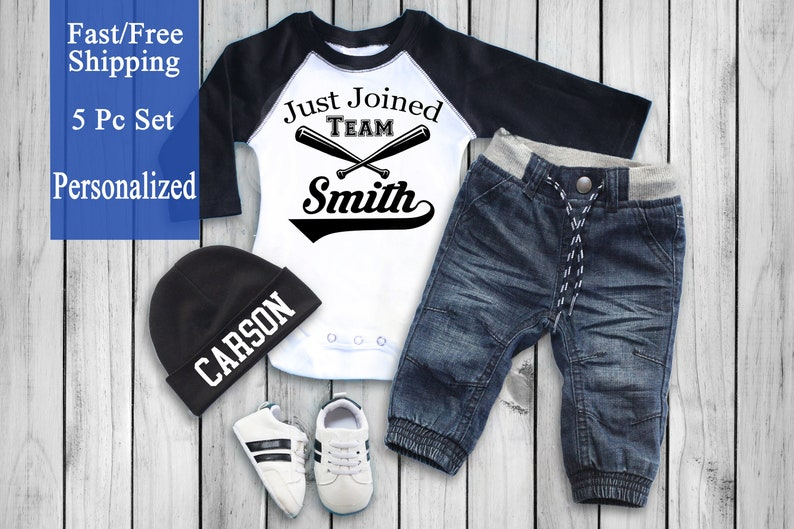 3ac90b403832e Personalized Newborn Baby Baseball Outfit with Jeans and Shoes. Baby Boy  Personalized Hat, Baby Boy Gift, Baby Boy Clothes, Baby Boy Outfit