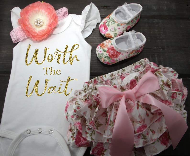 0de329efee79a Baby Girl Newborn Floral Bloomer Set with Shoes. Baby Girl Worth The Wait.  Baby Girl Clothes. Baby Girl Clothing Set. Baby Girl Gift Set