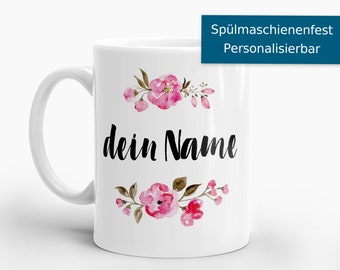 Mug with wish name and watercolor flowers