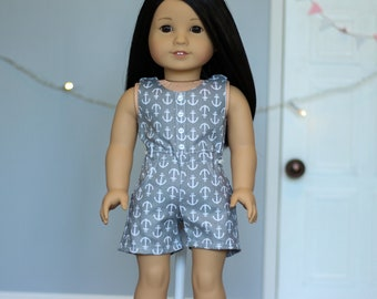"Grey Anchor Romper for 18"" Dolls"