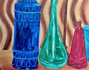 Colored Bottles, Original Oil Painting on Canvas