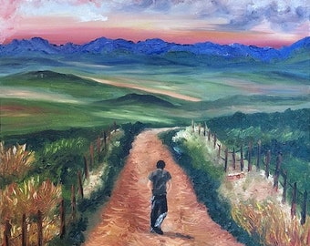 The Red Dirt Road, Original Oil Painting on Canvas