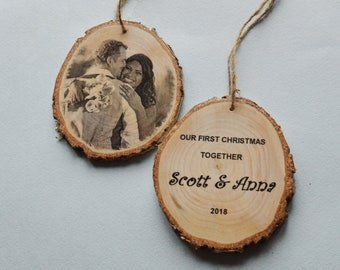 Rustic Wood Photo Personalized Christmas Ornament Family Christmas Gift Couple Custom Name Ornament Christmas Tree Ornament Photo Transfer