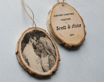 Wood Photo Gif for Her Wooden Photo On Wood Photo Transfer On Wood Slice Custom Photo Wooden Picture Ornaments Family Photo On Wooden Base