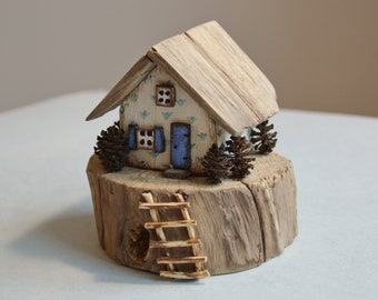Sweet Gifts Wooden  Decor Eco Gifts Wood Houses Small Cottage Driftwood Houses Village Cottage Wooden Houses Little Models Home