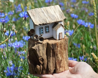 Little Wooden Houses Driftwood Houses Wooden Decor Driftwood Beach Decor Small House Driftwood Home Decor Miniature Ornament Cottage Gift