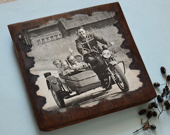 Rustic Wood Photo Transfer to Wood Family Photo on Wood Transfer Rustic Images Photo Gift for Him Father's Day Photo Custom Photo on Wood