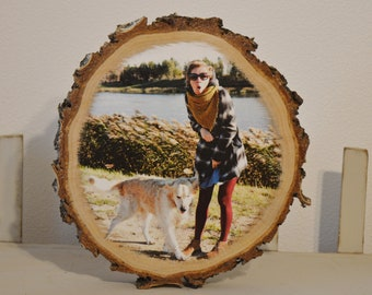 Rustic Wood Photo Transfer Custom Photo On Wood Photo Gift Wooden Photo Transfer on Wood Slice Pictures On Wood Wooden Picture Ornaments