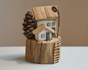 Driftwood House Little Wooden House Rustic House Cute House Small House Mini House Sweet House Wooden House Miniature Home Decor