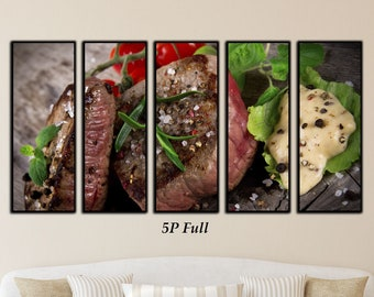 Beef Steak Canvas Wall Art Print Home Decoration Restaurant Décor, Food Art, Food Print, Chef Décor, Food Art, Food Photography, Meat