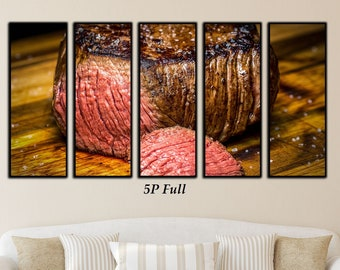 Steak, Restaurant Décor, Chef Décor, Food Art, Meat, 5 Piece Canvas, Food Photography, Food Photography,  Extra Large Wall Art, Food Print
