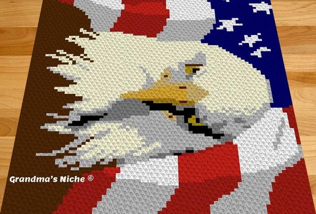 American Bald Eagle Crochet Blanket Pattern Eagle C2c Etsy
