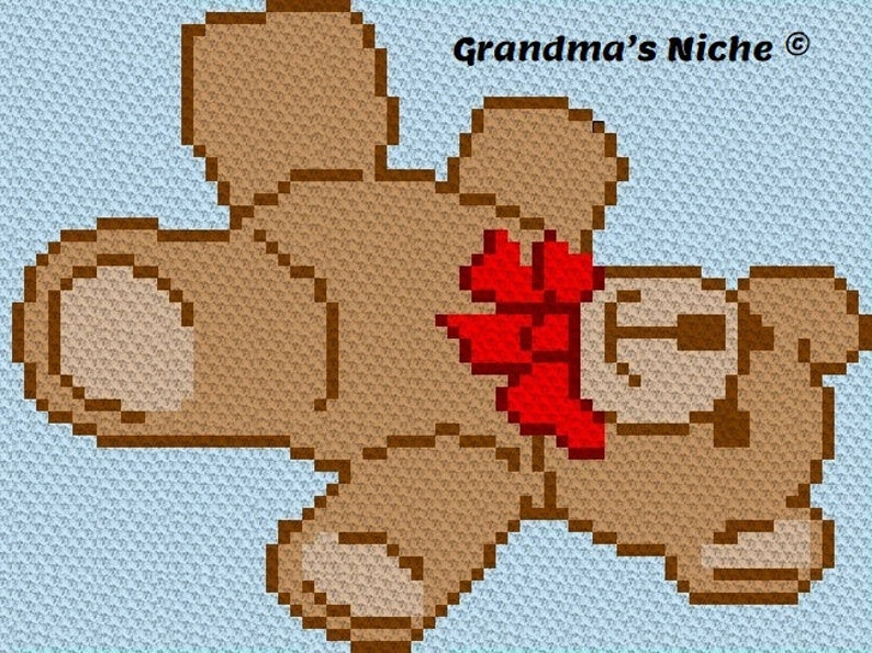 Teddy Bear-Baby Cross Stitch etc. \u201cWritten instructions\u201d Graphghan Tunisian crochet latch hook Knitting Crochet Blanket C2C Pattern