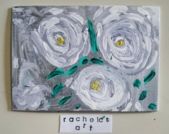 """5x7 acrylic painting on canvas board """"abstract white and silver floral"""""""