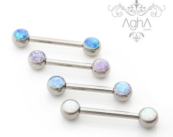 Covet Jewelry Opal Glitter Front Facing Prong Set 316L Surgical Steel Nipple Barbells