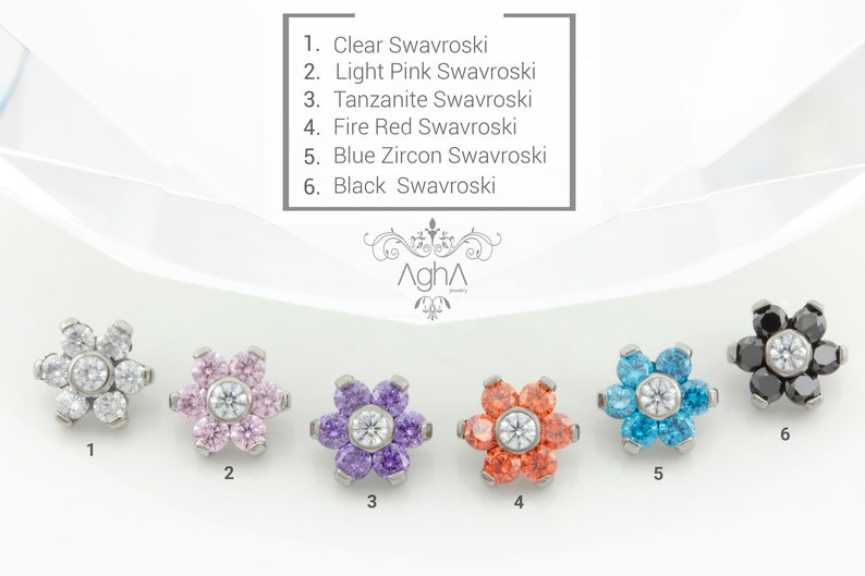 2c6389ec843c3 Agha 14G Implant Grade Titanium Internally Threaded Flowers Titanium  Threaded Tops in (5.4mm) Prong Set Swarovski Crystal