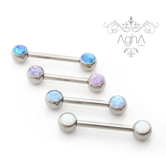 A Pair of Agha 14G Front Facing Opal Nipple ring Implant Grade Titanium Internally Threaded Nipple Barbell Nipple Piercing Opals Nipple
