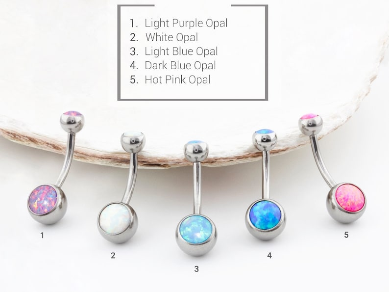 Agha 14g Implant Grade Titanium Regular Belly Button Rings Jewelry Internally Threaded Navel Curves With Synthetic Opal Choose Color