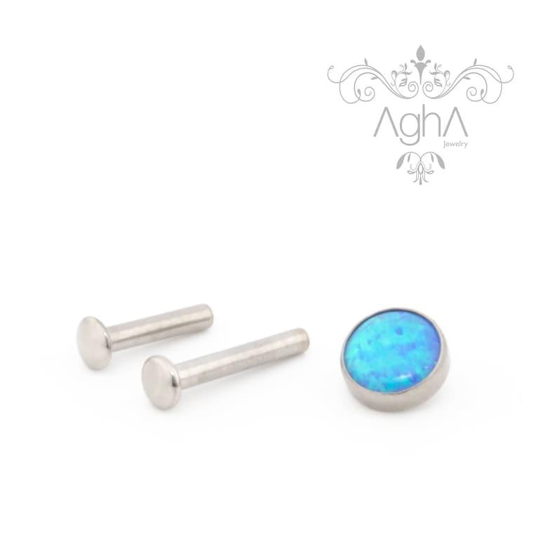 helix nose piercing Agha 18G Implant Grade Titanium Small Back Labret Dark Blue Opal top tragus Internally Threaded Titanium cartilage