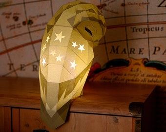 Owl Lamp Papercraft pattern Paper lantern Owl paper